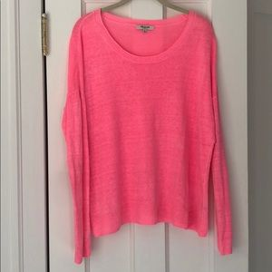 Bright pink Madewell linen sweater, size M